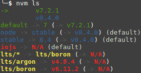Image showing the output of the command 'nvm ls' on a system that has two versions (7.2.1 and 8.4.0) of NodeJS installed.